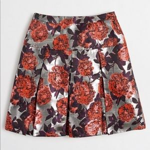 J.Crew metallic floral jacquard pleated skirt